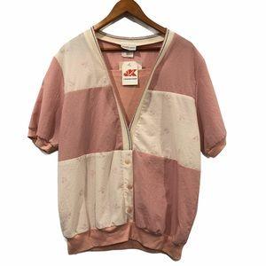 Vintage Color Block 80s Button-Down T-Shirt Blouse